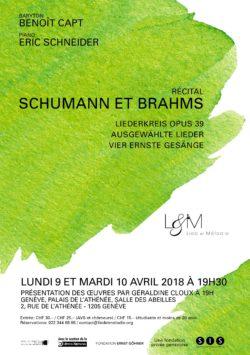 Recital Schumann Brahms- 9 et 10 avril - Geneve - Lied et Melodie